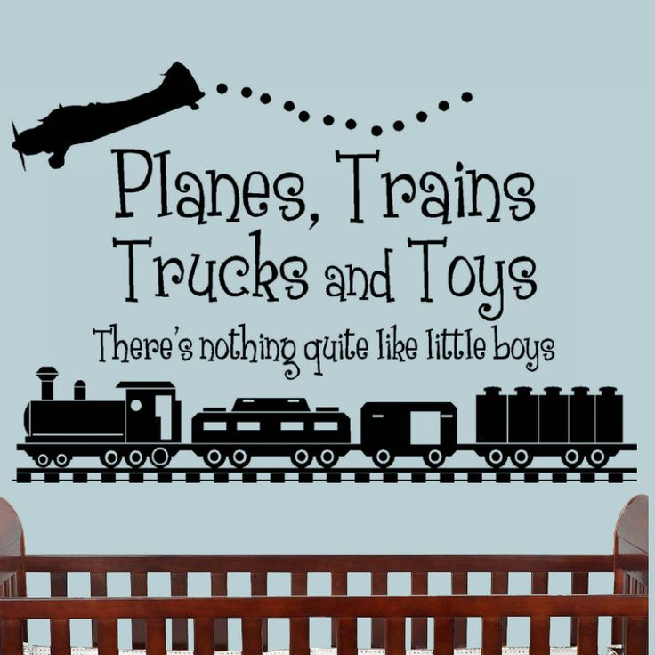 Boys Bedroom Decal Planes Trains Trucks and Toys there's nothing quite like little boys wall words quote Kids Wall Art. $21.00, via Etsy.