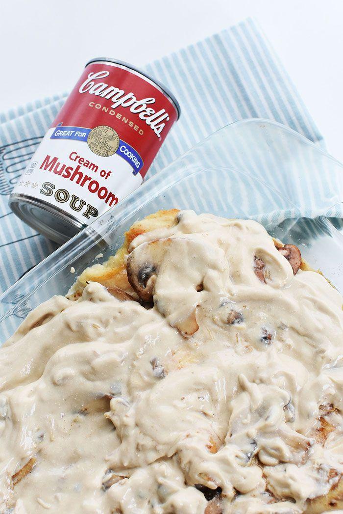 Cream Of Mushroom Chicken Bake With Cheese Recipe Mushroom Chicken Cream Of Mushroom Chicken Creamed Mushrooms