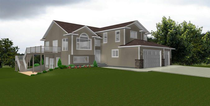 House plan 2011592 modified bi level with walkout by Bi level house plans with garage
