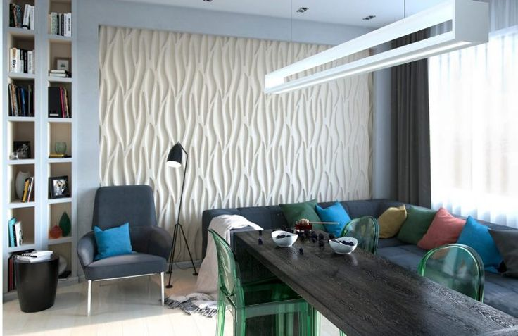 Kis lakás férfiasabbra hangolt dekorációval, nappali és konyha egy térben, 30.6m2