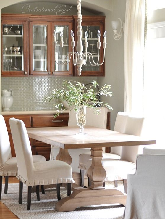 Mariestad Chandelier Couture Chairs By Ballard Designs I Via Centsational Blogs Dining Room