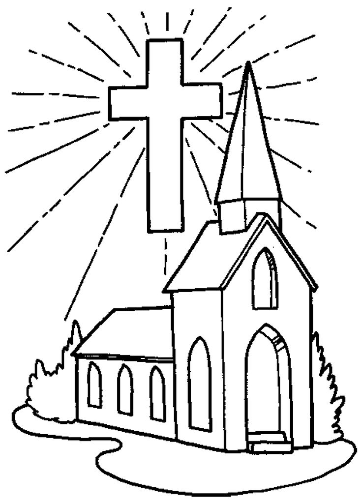 Coloring Page Of A Small Church And Large Cross