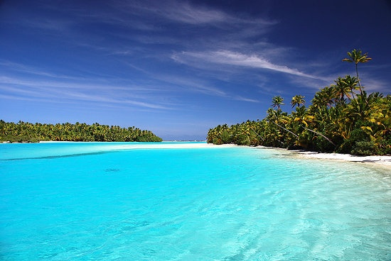 Aitutaki Lagoon, Cook Islands. I use to live on Midway Island. Looked just like this.  Wonderful