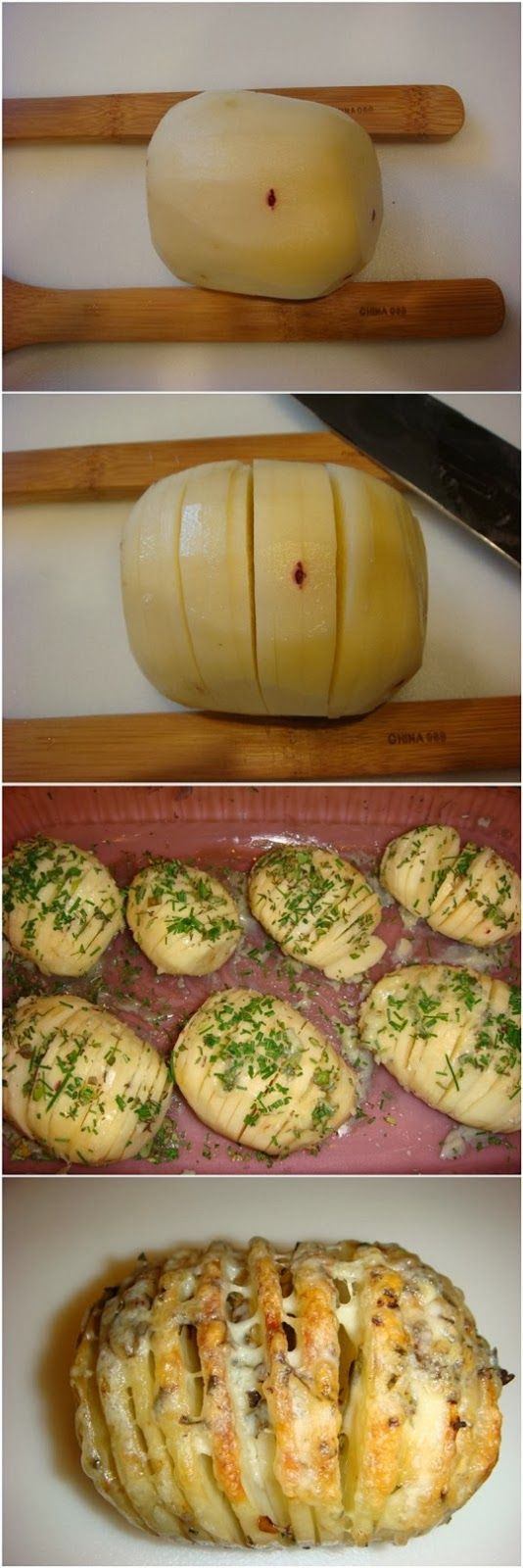 Sliced Baked Potatoes with Herbs and Cheese.