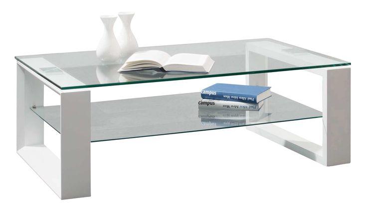 Table basse coffee 2 plateaux verre blanc brillant cette - Table basse classique ...