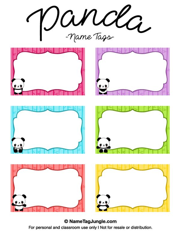 Free printable panda name tags. The template can also be used for creating items like labels and place cards. Download the PDF at http://nametagjungle.com/name-tag/panda/