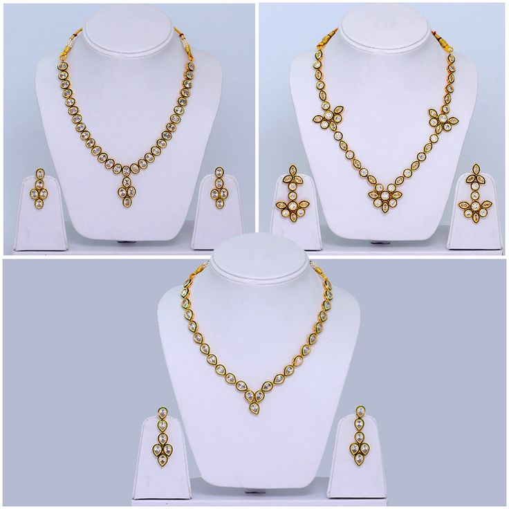 Combo of 3 Kundan Necklace with Earrings for Women…