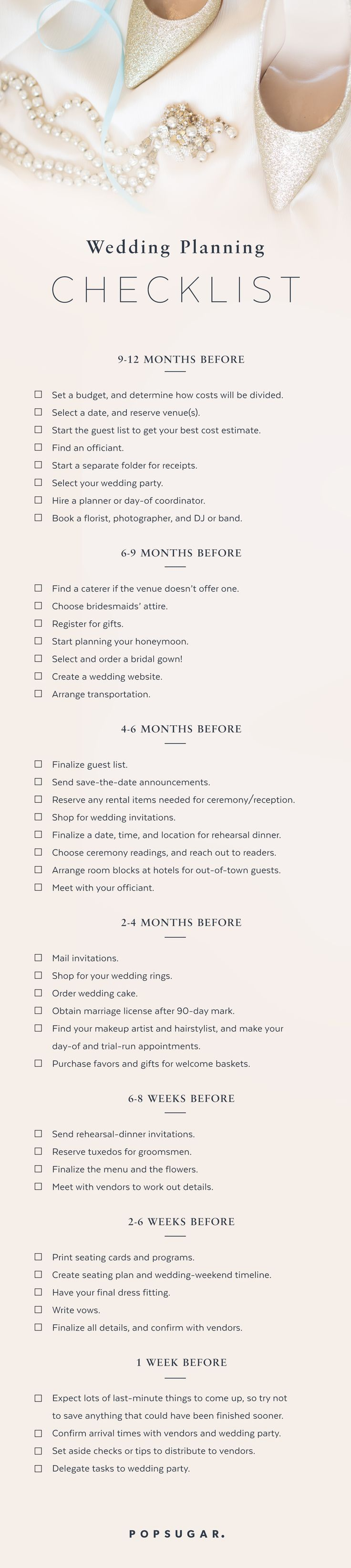 It's overwhelming when you're not sure what's next on the to-do list, so I've created a general timeline for brides out there who need the reminders or reassurance that they're already on track.