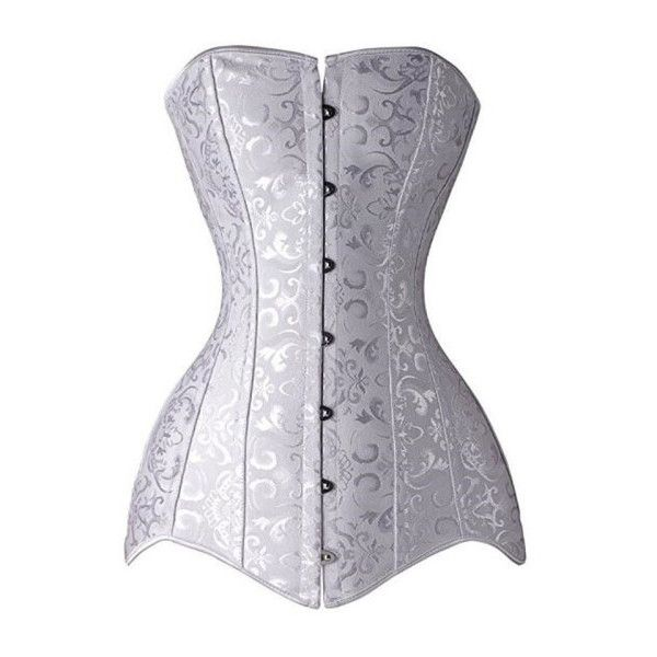 Women's Long Line Corset Steel Boned Overbust Long Torso Waist... ($37) ❤ liked on Polyvore featuring intimates, shapewear and white