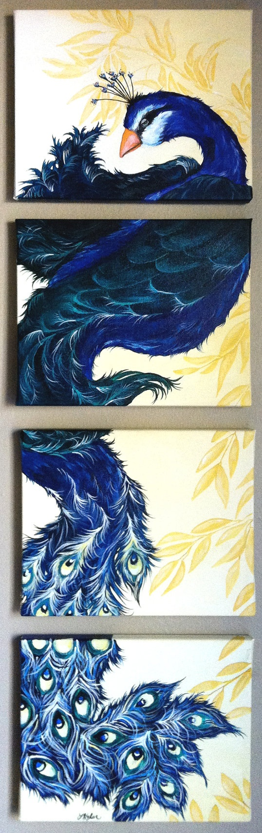 Multiple Canvas Peacock Painting by SweetSerendipity01 on Etsy, $85.00