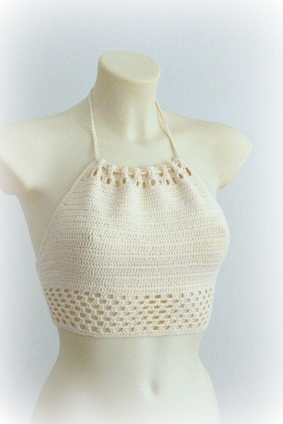 Crochet beige halter top beautiful halter top by SexyCrochetByOlga,