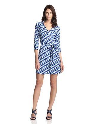 60% OFF JB by Julie Brown Women's Milo Long Sleeve Wrap Dress with Collar (Blue Marina)