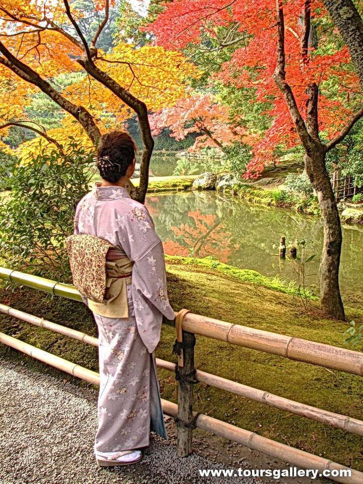 Visit Ryoanji Garden in Kyoto Japan with www.toursgallery.com  Mayumi Gray wearing her traditional Kimono.