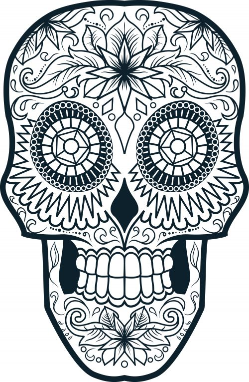 sugar skull coloring page 4 - Simple Sugar Skull Coloring Pages