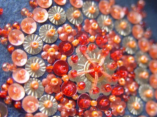 Beautiful beadwork on felt - from a little bit of just because