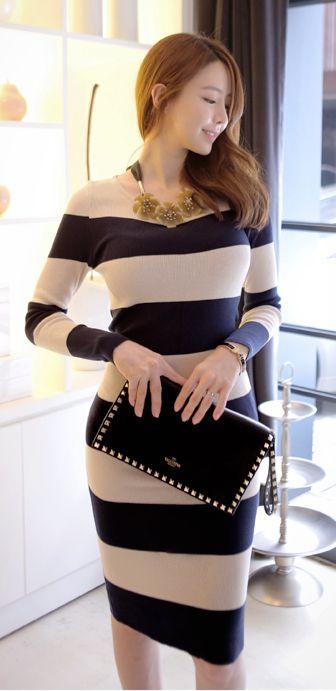 [LUXE ASIAN: ASIAN STYLE] Fog Stripe Long Dress,asian style,korean style,dress,cute dress,style,fashion,pretty,sexy