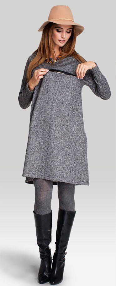 Angelo grey теплое трикотажное платье свободного трапециевидного кроя для беременных и кормящих