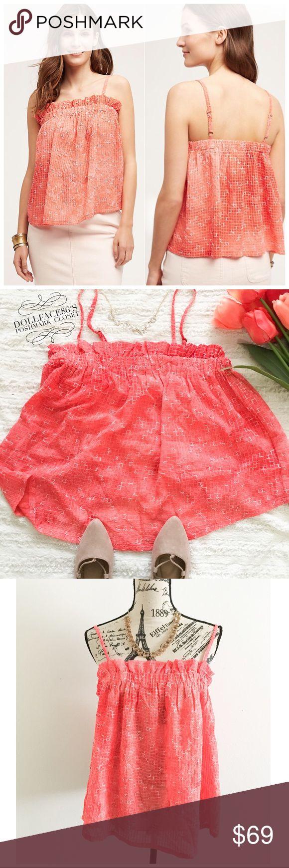 Selling this Anthropologie Pink Ruffle Tank on Poshmark! My username is: dollface86. #shopmycloset #poshmark #fashion #shopping #style #forsale #Anthropologie #Tops