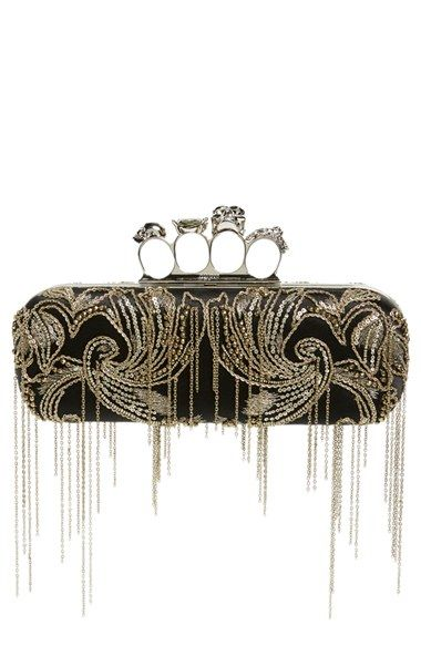 Alexander McQueen Fringe Chain Silk Knuckle Box Clutch available at #Nordstrom