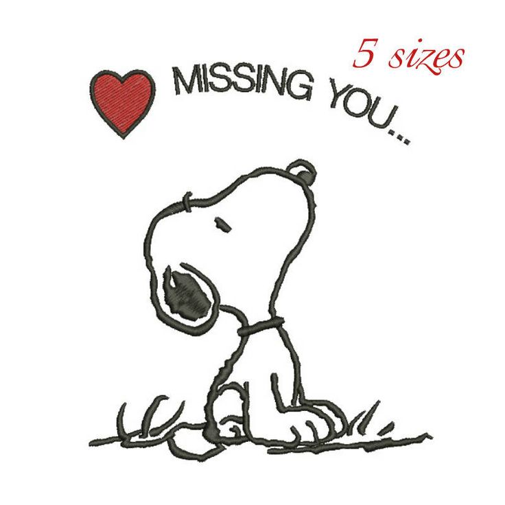 Snoopy missing you machine embroidery design designs instant digital download pattern gift holiday designs hoop file towel music notes love by SvgEmbroideryDesign on Etsy