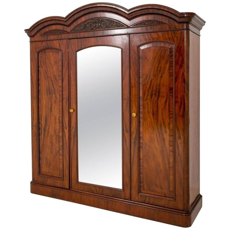 Mahogany Three-Door Gentlemans Wardrobe | From a unique collection of antique and modern wardrobes and armoires at https://www.1stdibs.com/furniture/storage-case-pieces/wardrobes-armoires/