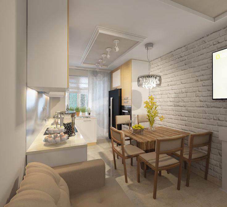 Кухня. Дизайн-проект. Бежевый диван на кухне. Бежевый пол из плитки на кухне. Г-образная столешница. Плитка под кирпич на стене.
