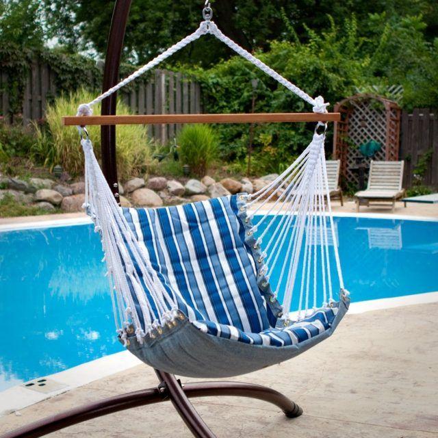 hamac chaise rayures blanches et bleues et avec support mtallique