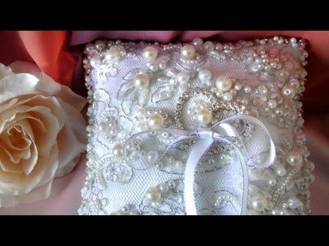 Fancy Beadwork - Ameynra wedding ring pillows - pearl beads, crystals, lace