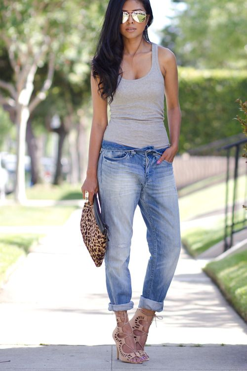 slouchy jeans, beater & tan heels