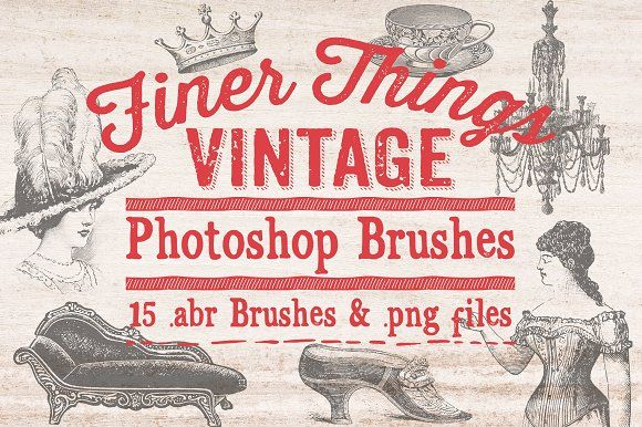 Finer Things Vintage Brushes by Clikchic Designs on @creativemarket