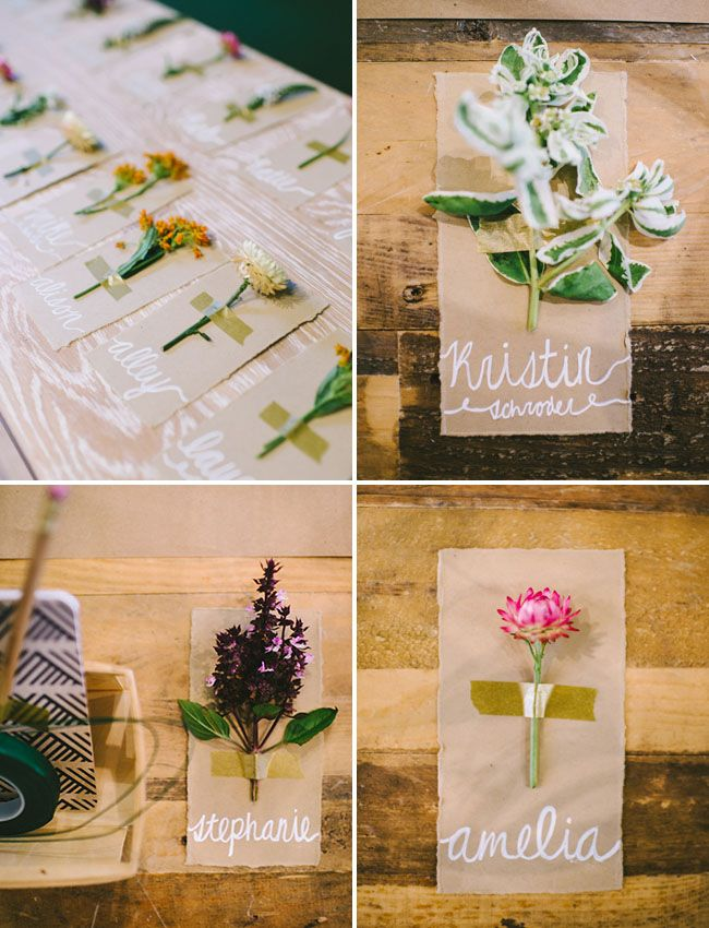 We love the idea of a Flower Potluck!  Wouldn't these flower place cards be a great idea for a wedding  shower too?