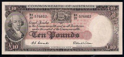 Paper money Australia 10 Pounds banknote Admiral Arthur Phillip