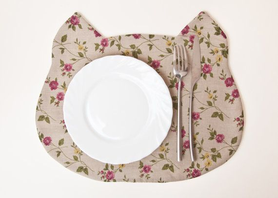 Placemat Cat Fabric placemat floral pattern by JuliaWine on Etsy, $17.00