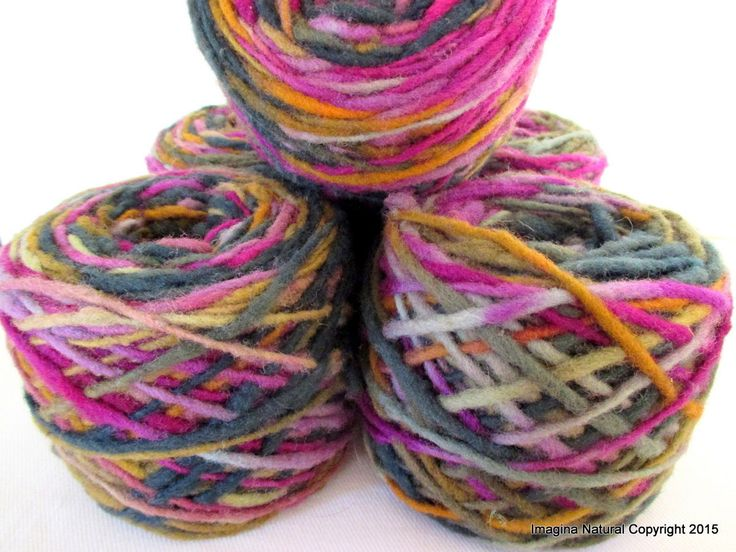 Limited Edition Handspun Hand dyed yarn Pure Bulky Chilean Wool Knitting Multicolour Araucania Chunky Skein Purple Yellow Grey 100g 3.5oz by ImaginaNatural on Etsy