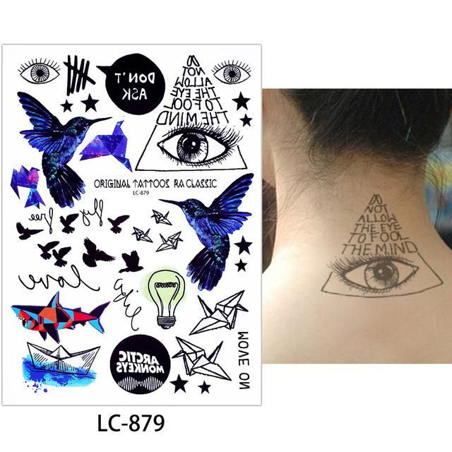 6 Sheets Wrist Body Art Henna Tattoo Stencil Flower: Glaryyears 1 Sheet Watercolor Body Makeup Decal Fake Black