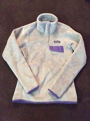 Vintage Patagonia Polartec Gray With Purple Snap T Fleece Pullover Jacket