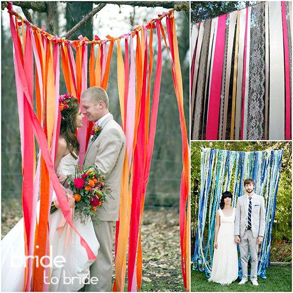 Оформление фотозоны на свадьбу лентами