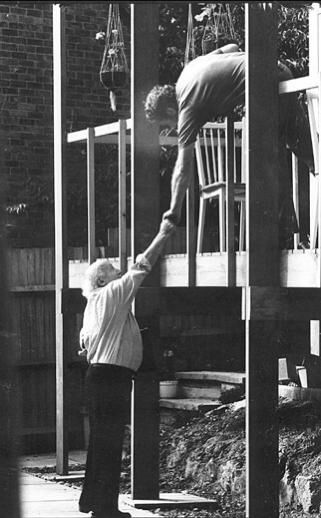 Walter Segal with my Grandfather Kenneth (Ken) Atkins, building 11 Elstree Hill on a plot in Lewisham (Bromley).  Walter Segal Method.  Self-build.  Construction Method.  Community Architecture.  Timber framed.  Eco House.  Eco Home.  50s, 60s, 70s, 80s, 90s, 00's.  Sustainable Living.  Modern Living.  Japanese Influence.    There are three Walter Segal self build homes at this location.  Elstree Hill is also part of the 'Green Chain Walk' that stretches south of the River Thames, across…