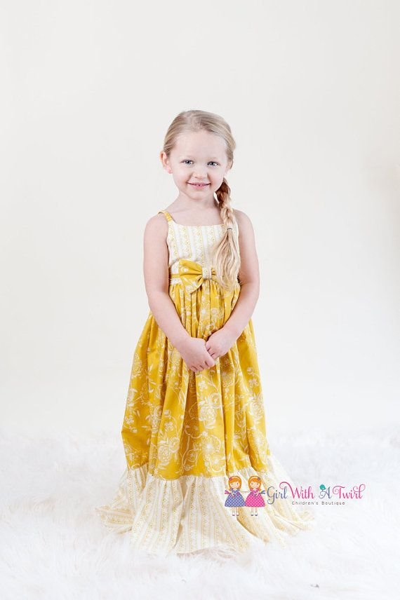 Hey, I found this really awesome Etsy listing at https://www.etsy.com/listing/267403270/girls-maxi-dress-yellow-dress-summer