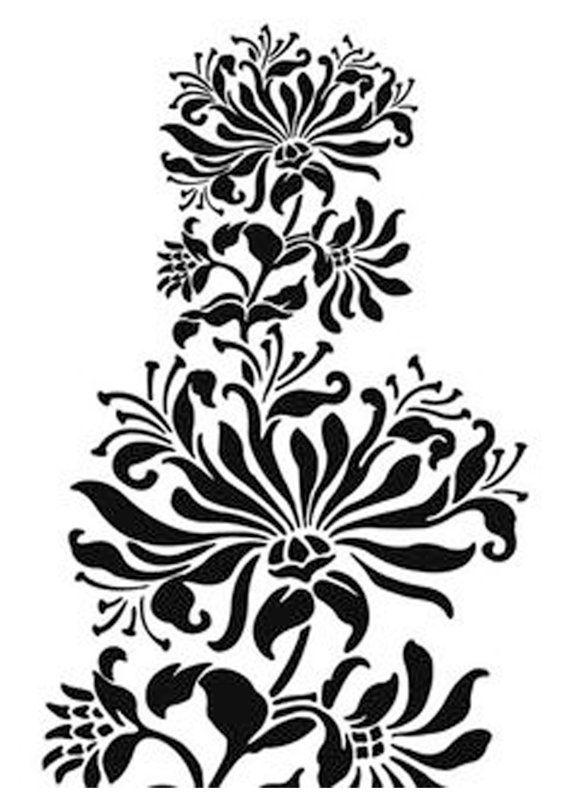 A4 Art Nouveau Flower reuseable  sturdy 190 micron Mylar Stencil A3 A5