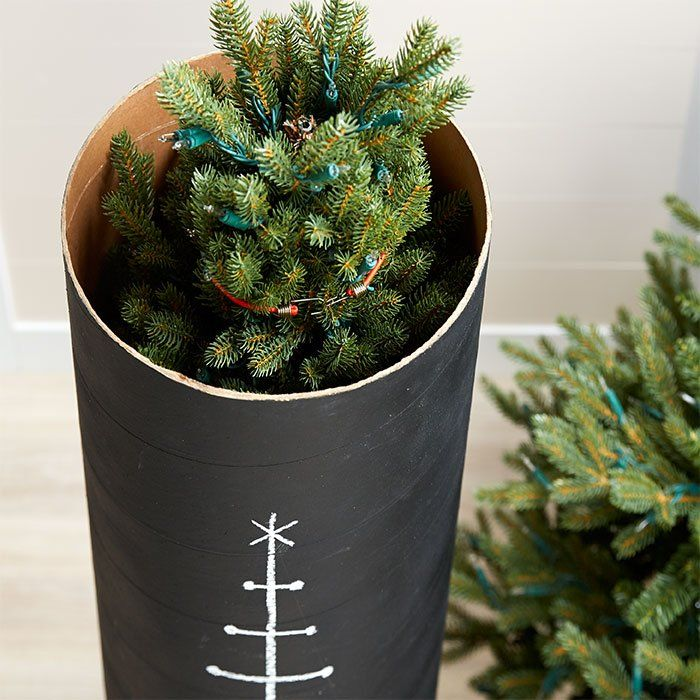 Store An Artificial Christmas Tree Inside A Concrete Tube Form With A Chalkboard Finish Ho Christmas Storage Christmas Tree Storage Artificial Christmas Tree