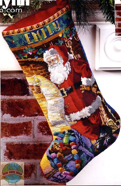 Christmas Needlepoint Stocking Patterns | Janlynn - Checking His List Stocking - Cross Stitch World