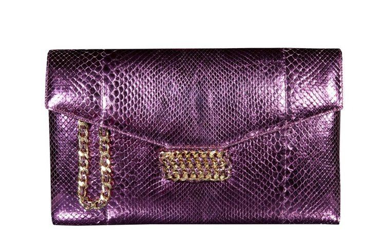CASHHIMI   Mulberry clutch   Python w/ gold chain detail
