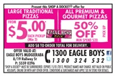 Eagle Boys pizza coupons for free