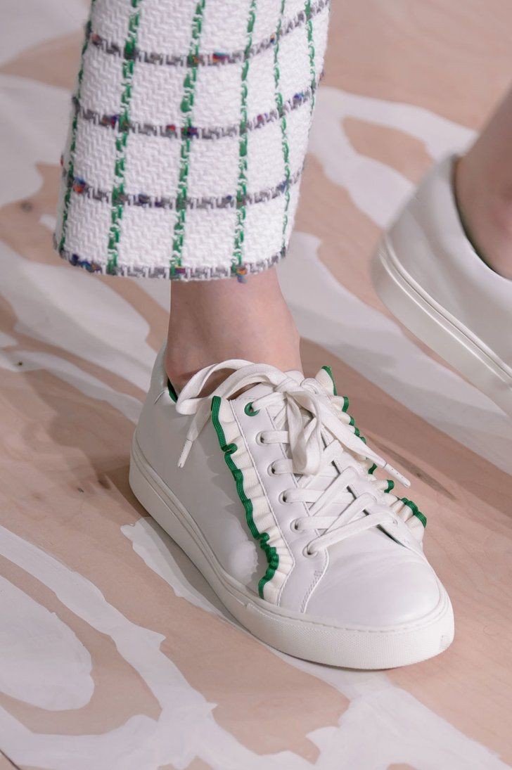 All laced up with girlie details. | 41 Flats and Heels We Have Spotted on the Catwalk and Want on Our Feet | POPSUGAR Fashion UK