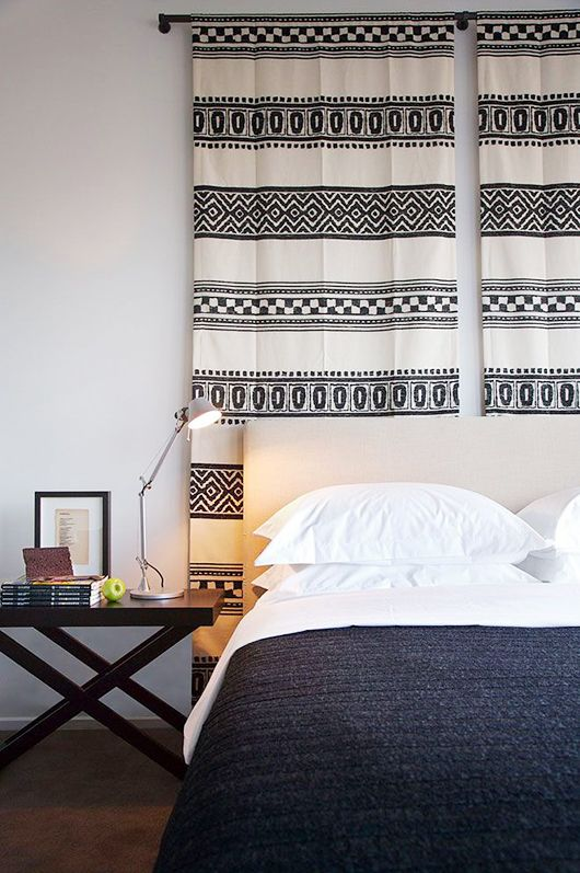 Patterned fabric = cool wall art (or even a headboard).