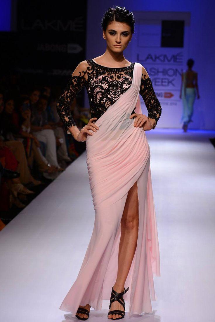 Pink slit sari gown with black embroidery , Sonaakshi Raj