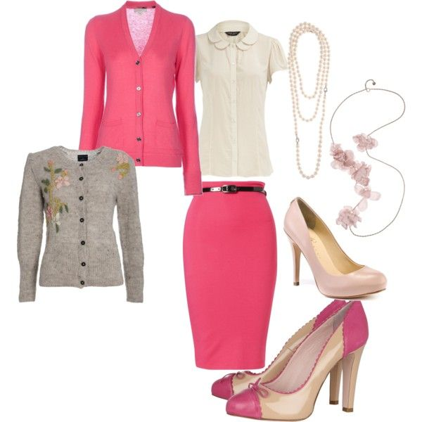 Pink pencil skirt with gray and winter white
