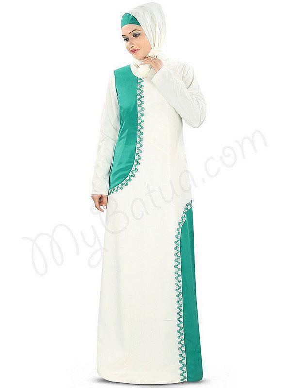 Beautiful Off White_Bottle Green Party Wear Abaya   MyBatua.com