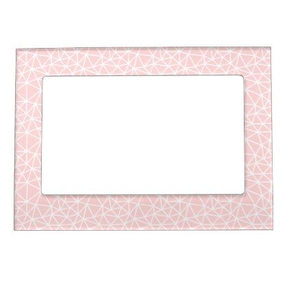 Girly Pink White Geometric Stripes Pattern Magnetic Frame - trendy gifts cool gift ideas customize
